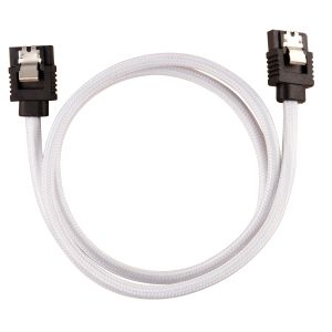 CORSAIR Premium Sleeved SATA Data Cable Set with Straight Connectors_ White_ 60cm (CC-8900253)