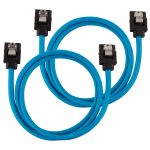 CORSAIR Premium Sleeved SATA Data Cable Set with Straight Connectors_ Blue_ 60cm (CC-8900255)