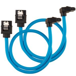 CORSAIR Premium Sleeved SATA Data Cable Set with 90_ Connectors_ Blue_ 30cm (CC-8900281)