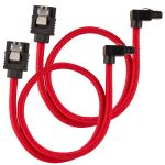 CORSAIR Premium Sleeved SATA Data Cable Set with 90_ Connectors_ Red_ 30cm (CC-8900280)
