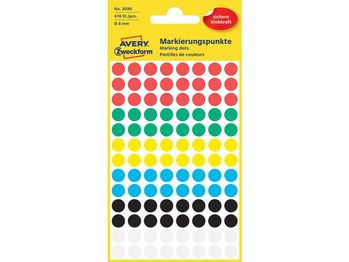 AVERY Colour Coding Dots, Ass. Assorted colours, ? 8 mm 416 labels/ pack (3090)