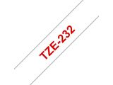 BROTHER TZ-tape / 12mm / Red Text / White Tape