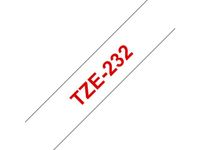 BROTHER TZ-tape / 12mm / Red Text / White Tape (TZE-232)