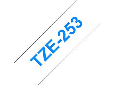 BROTHER 24MM Blue On White Tape (TZE253)