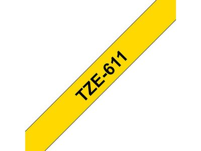 BROTHER 6MM Black On Yellow Tape (TZE611)