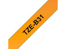 BROTHER TZE-B31 LAMINATED TAPE 12MM 8M BLACK ON SIGNAL ORANGE SUPL