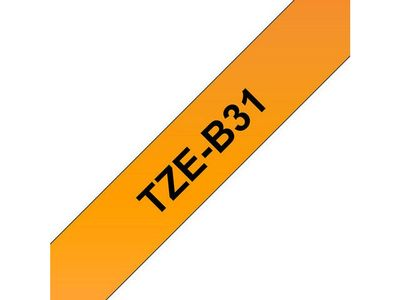 BROTHER 12MM Black On Fluro Orange Tape (TZEB31)