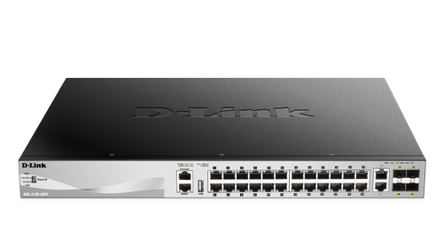 D-LINK 24 x 10/ 100/ 1000BASE-T PoE ports (370W budget) Layer 3 (DGS-3130-30PS/SI)