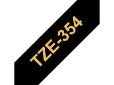 BROTHER TZE-354 LAMINATED TAPE 24MM 8M GOLD ON BLACK SUPL