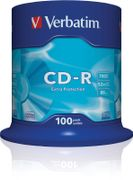 VERBATIM CD-R Media DataLife 48X Extra Protection 100 Pack Spindle Retail