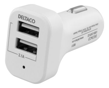 DELTACO Car charger white 2xUSB 2.1 Max Color box (USB-CAR121)