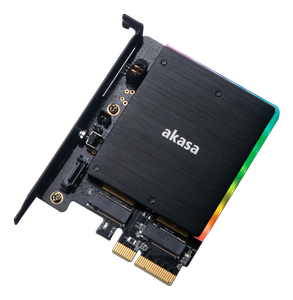 AKASA M.2 PCIe and M.2 SATA SSD adapter card with RGB light and heatsink (AK-PCCM2P-03)