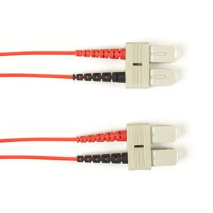BLACK BOX COLOURED SINGLEMODE PATCH CABLE - LSZH DUPLEX - RED, SC-SC, 1M (FOLZHSM-001M-SCSC-RD)