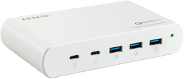 Deltaco 110W 5-Port Charging station, 2x USB-C PD, 3x USB-A QuickCharge 3.0, w