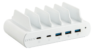 DELTACO 110W 5-Port Charging station, stand, 2x USB-C PD, 3x USB-A QuickCharge