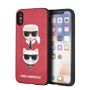 KARL LAGERFELD TPU/PC Hard Case - PU Leather - Karl and Choupette Embossed - Red