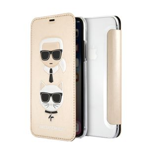 KARL LAGERFELD Transparent Booktype Case - PU Leather -Karl and Choupette - Gold IPX (KLFLBKPXKICKCSGO)