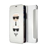 KARL LAGERFELD Transparent Booktype Case - PU Leather Karl and Choupette Silver IPX