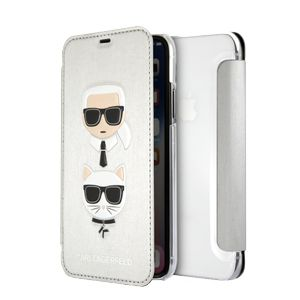 KARL LAGERFELD Transparent Booktype Case - PU Leather Karl and Choupette Silver IPX (KLFLBKPXKICKCSSI)