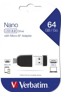 VERBATIM USB DRIVE 2.0 NANO 64GB STORE ´N´ STAY + OTG ADAPTER (49329)