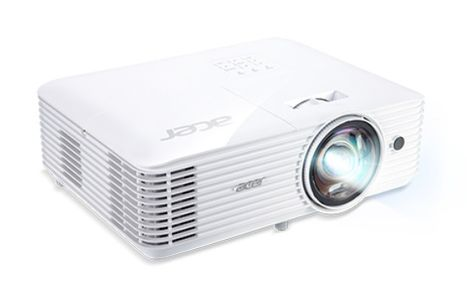 ACER S1386WH short throw DLP projector WXGA 1280x800 3600ANSI 2880 Eco 20000:1 32dB 24dB Eco HDMI MHL D-Sub Composite Audio (MR.JQU11.001)