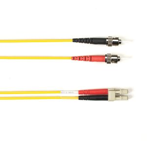 BLACK BOX COLOURED SINGLEMODE PATCH CABLE - LSZH DUPLEX - YELLOW, ST-LC, 25M (FOLZHSM-025M-STLC-YL)