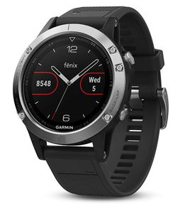 GARMIN Fenix 5 Sort/ Silver - 47mm- Sort rem (010-01688-03)