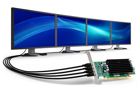 MATROX C420 4GB LP PCIe x16 quad video card passive cooling provides increased reliability for small form factor and full height (C420-E4GBLAF)