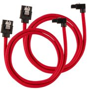 CORSAIR Premium Sleeved SATA Data Cable Set with 90_ Connectors_ Red_ 60cm