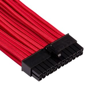 CORSAIR Premium Individually Sleeved ATX 24-pin_ Type 4 (Generation 4)_ RED (CP-8920230)