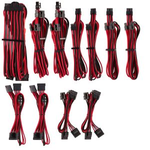 CORSAIR Premium Individually Sleeved PSU Cable Pro Kit_ Type 4 (Generation 4)_ RED/BLACK (CP-8920226)