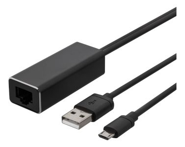 DELTACO Ethernet-adapter for ChromeCast,  USB, RJ45, black (CAST-ETHERNET)