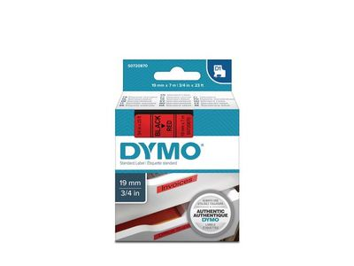 DYMO D1 Tape / 19mm x 7m / Black Text / Red Tape (S0720870)