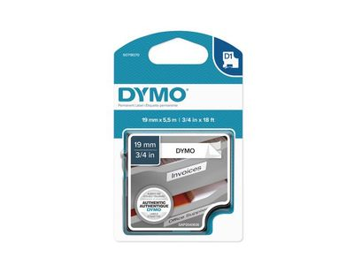DYMO D1 19mm Permanent Sort/Hvit (S0718070)