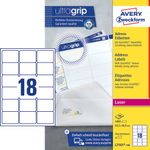 AVERY White Adressing Labels For Laser 63.6x46.6mm 18 Labels/ Sheets **100-pack** (L7161-100)