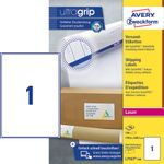 AVERY White A4 Shipping Labels For Laser 199.6x289.1mm 1 Label/ Sheets **100-pack** (L7167-100)