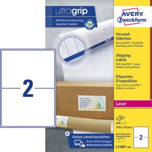 AVERY White A5 Shipping Labels For Laser 199.6x143.5mm 2 Labels/ Sheets **100-pack** (L7168-100)