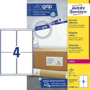 AVERY Laser etiket Block out 99, 1x139, 0mm 4 stk 100 ark (L7169-100)