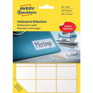 AVERY Etiket Avery 3325 Hvid 24x38mm Mp/522 (3325)
