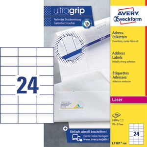 AVERY Small Addressing Labels Small Envelopes ,Laser 70x37mm 24 Labels/ Sheets **100-pack** (L7181-100)
