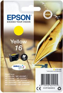 EPSON 16 ink cartridge yellow standard capacity 3.1ml 165 pages 1-pack blister without alarm (C13T16244012)