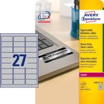AVERY Identification Labels For Laser 63.5x29.6mm 27 Labels/ Sheets **20-pack** (L6011-20)