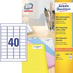 AVERY Mini Laser Labels White 45,7 x 25,4mm **4.000-Pack** (L7654-100)
