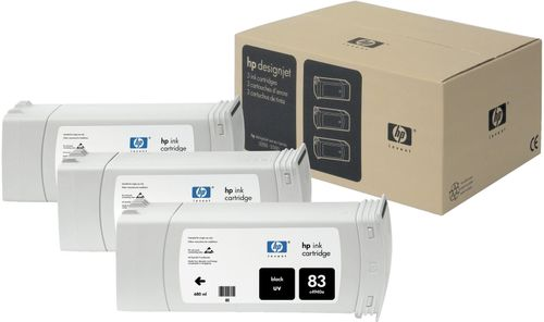 HP 83 UV-patroner,  680 ml, sort, 3-pak (C5072A)