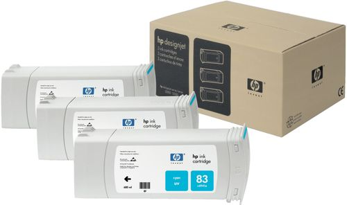 HP 83 3-pakning 680 ml cyan UV-patroner (C5073A)
