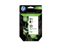 HP Pakke med 2 stk. HP 21 sort/22 trefarvet Original Ink-blækpatroner (SD367AE)