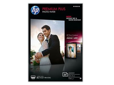 HP Premium Plus glättat fotopapper 25 ark/10 x 15 cm (CR677A)