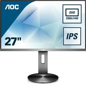 "AOC Q2790PQU/ BT - LED-skärm - 27"" - 2560 x 1440 QHD - IPS - 350 cd/m² - 1000:1 - 4 ms - HDMI, VGA, DisplayPort - högtalare (Q2790PQU/BT)"