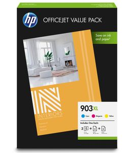 HP No903 XL CMY ink office value pack (1CC20AE $DEL)