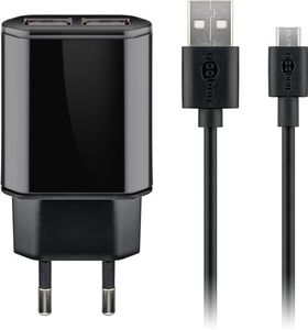 GOOBAY Micro USB charger set, black, 1 m - 2.4Â A USB-power unit including a Micro USB cable (45845)